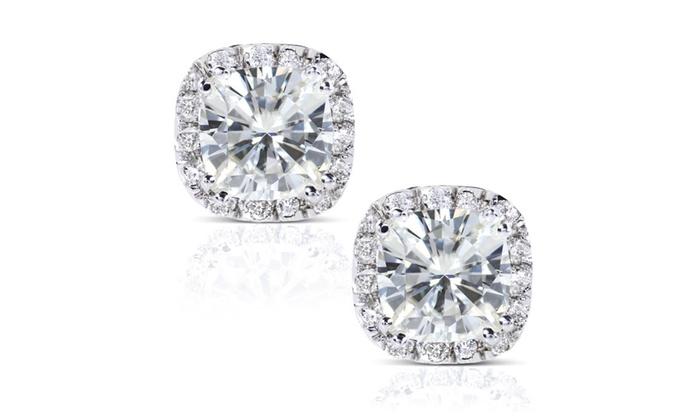 Moissanite Diamond Stud Earrings 3 Carat Ctw In 14k White