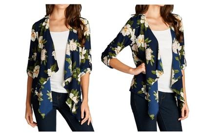 Womens Navy Blue Floral Flyaway Cardigan Kimono d5c54ece-5569-4833-893a-465a27cc1b95