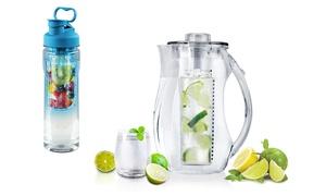 28oz & 32oz Fruit Infuser Water Bottle & Pitcher Combo