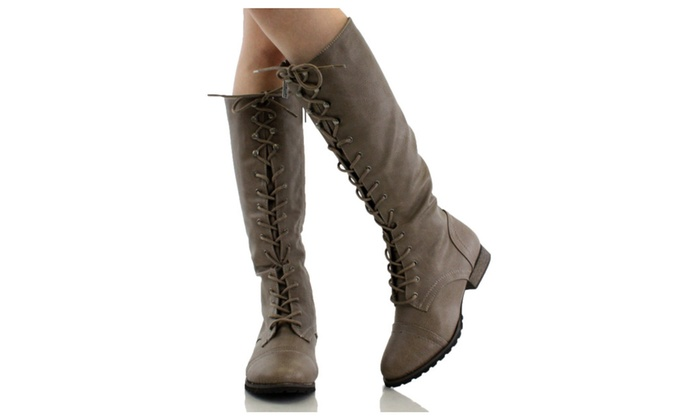 Knee High Lace Up Women's Vegan Leather Riding Boots