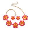 Orange, Pink and Yellow Lucite Daisy Jewelry Set