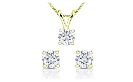 1.00 cttw Diamond Pendent and Diamond Stud earring in 14k White Gold and Yellow Gold