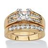 1.82 TCW CZ 18k Gold-Plated Wedding Ring Set