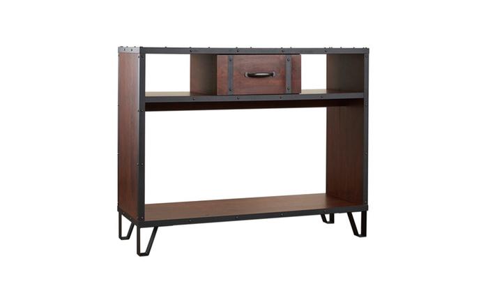 Foyer Table Jcpenney : Hardin vintage walnut industrial design entryway table