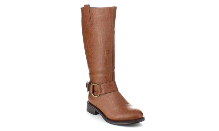 Tan Riding Ankle Strap Knee-high Women's Vegan Boots