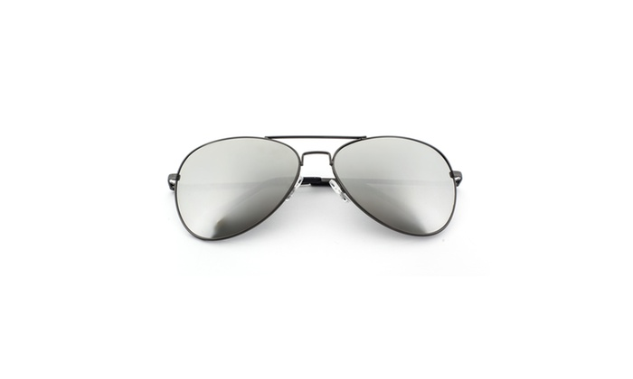 MLC Eyewear Burt Aviator Police Sunglasses REVO Lens - Silver