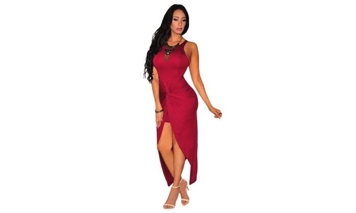 Women's Cranberry Knotted Slit Dress