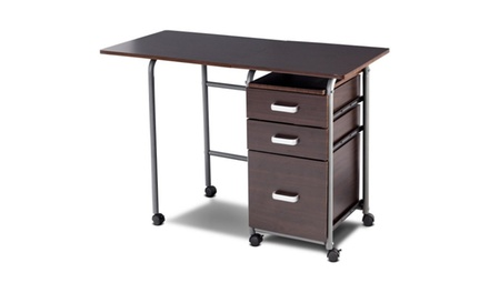 Folding Computer Laptop Desk Wheeled Home Office Furniture with3 Drawers Brown