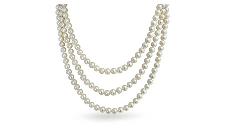 Bling Jewelry Bridal 925 Silver 3 Strand 7mm Cultured Pearl Necklace b5c3dcea-2053-4f80-a9b2-211ee1fc8305