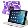 Insten For iPad Air 360 Swivel Stand Leather Case Purple Giraffe