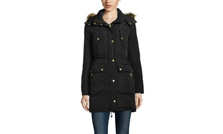 COLE HAAN Patch Pocket Down Coat with Faux Fur Trim