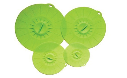 Silicone Suction Lids & Food/Bowl Covers - Set of 4 - Fits Various Sizes of Cups, Bowls, Pans and Containers.