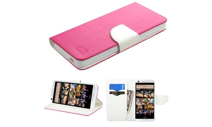 Groupon Goods: Insten Flip Leather Case card slot For HTC Desire 626 Hot Pink White