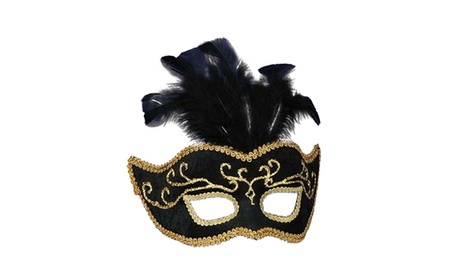 Morris Costumes Halloween Party Half Style Mask Black With Gold Trim a40d2b25-2895-4f2d-acc6-5a04ca7e5141