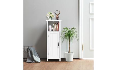 Costway Bathroom Floor Storage Free Standing w/ Single Door Adjustable Shelf