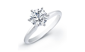 1/2 Carat Round Diamond Solitaire In 14k White Gold And Yellow Gold