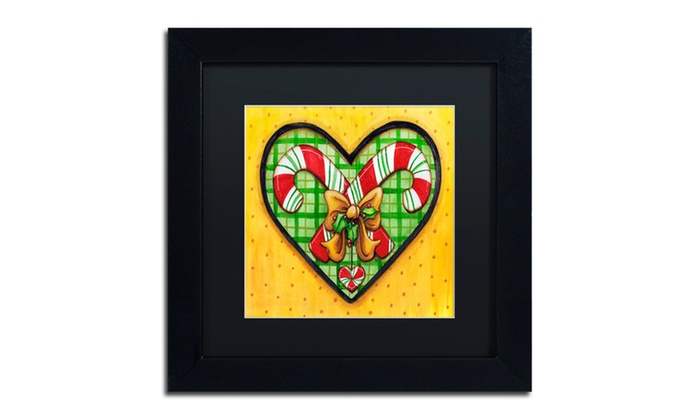 Groupon Goods: Jennifer Nilsson 'Candy Cane Heart' Matted Black Framed Art