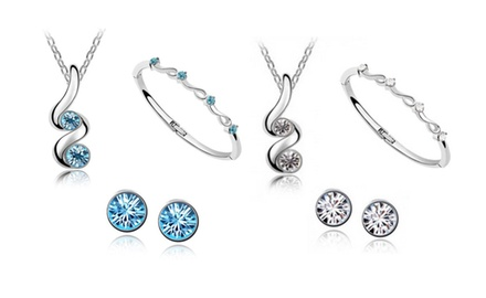 KATGI Fashion 18K White Gold Plated Beautiful Buds Austrian Crystal Necklace and Earring Set
