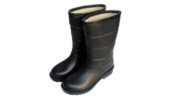 9b28885ec20 Women s Mid Calf Buckle Ankle High Hunter Rain Round Toe Rain boots ...