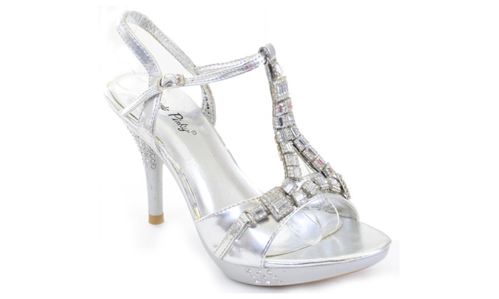 Chunky Jewels Bling Crystals Formal Silver Platform Sandals