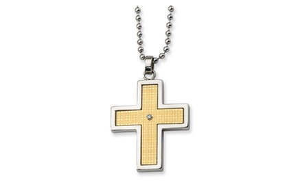 IceCarats Designer Jewelry Stainless Steel 14k Gold-plated w/Diamond Accent Cross Necklace