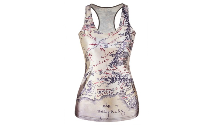 Women's Map Print Tank Top - Multicoloured / One Size