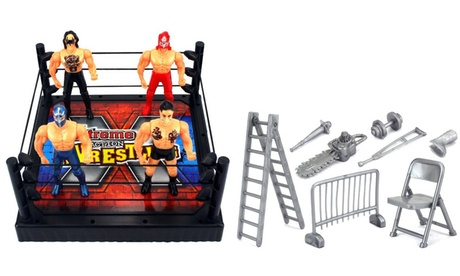 VT X-Treme Action Wrestling Toy Figure Play Set w/ Ring, 4 Toy Figures c004f8c2-c9af-4bd6-acac-8daa845dfcce