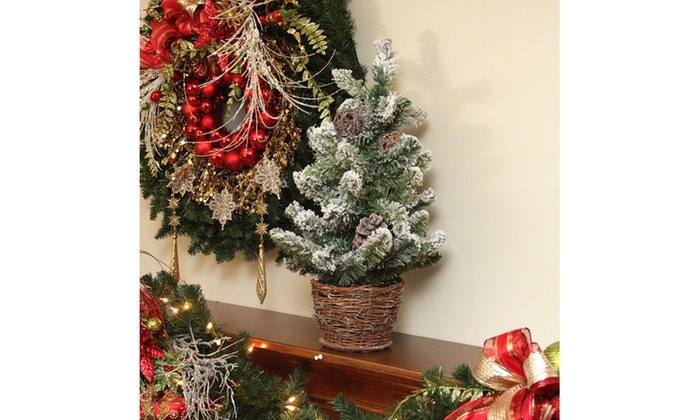 2' Potted Flocked Pine Artificial Xmas Tree W/ Wicker Base