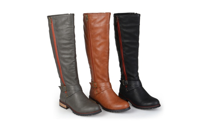 Journee Collection Womens Wide-Calf Side-Zipper Knee-High Riding Boots