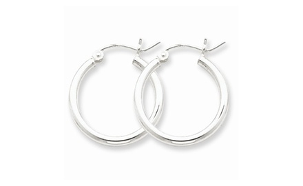 IceCarats Designer Jewelry Sterling Silver Rhodium-Plated 2Mm Round Hoop Earrings