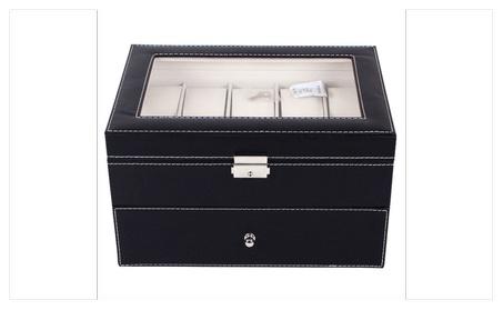 Large 20 Slot Leather Watch Box Display Case Organizer Glass Top 4546866c-2faf-49bc-b0ff-67c8b798e38a