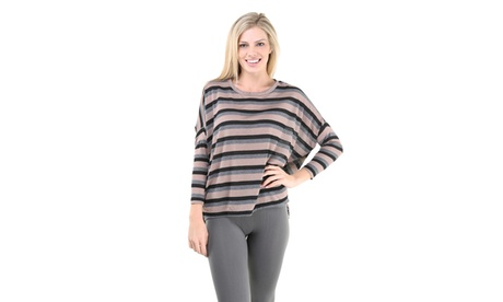 Women's Red Wine Stripe Printed Oversized Dolman Sleeve Top 6563d5aa-dd6c-47a5-92cf-e01c9148115c