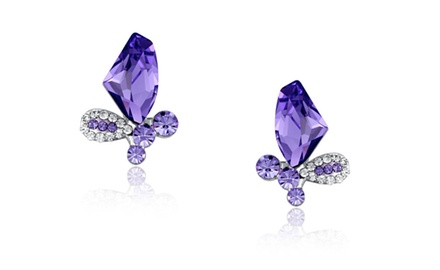 Swarovski Elements Crystal Butterfly Studs Earrings (Purple)