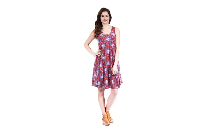 24/7 Comfort Apparel Women's Red Paisley Printed Tank Dress