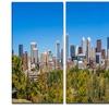 Calgary Skyline with Blue Sky - Photo Cityscape Metal Wall Art