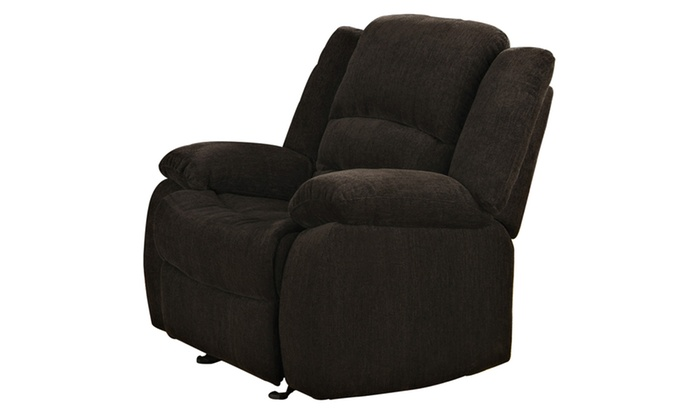 Scott Glider Recliner In Chocolate Textured Padded Velvet