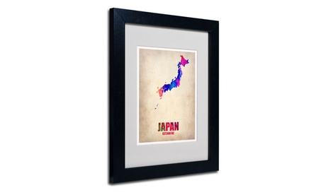 Naxart 'Japan Watercolor Map' Matted Black Framed Art d8b21285-e4ca-48d6-9d3f-d209deb50d62