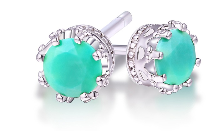 Rhodium Plating Turquoise Crown Stud Earrings By Rmont