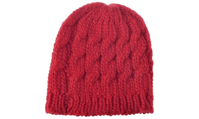 Zodaca Red Lady Women Knit Winter Warm Crochet Hat Braided Beanie Cap