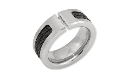 IceCarats Designer Jewelry Titanium Black IP-plated Cable and Diamonds Polished/Brushed Band