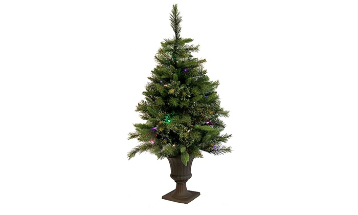 3.5' Mixed Pine Cashmere Potted Artificial Christmas Tree - Multi LED