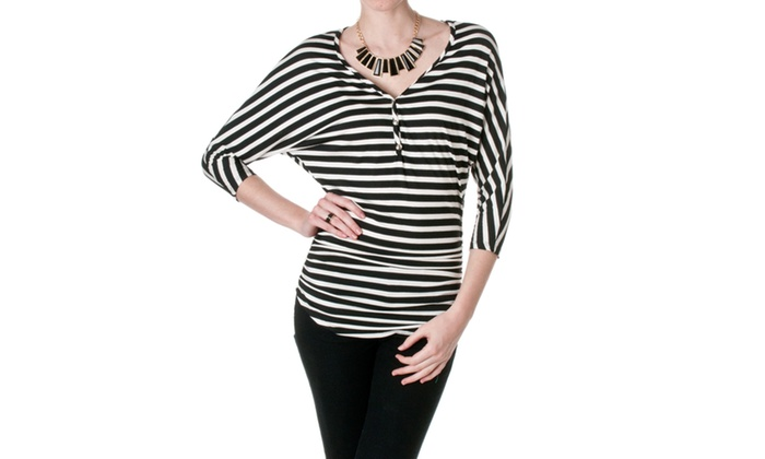 K Too Womens Striped Dolman Top CA4210