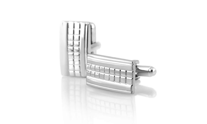 Zodaca Silver Grid Cufflinks