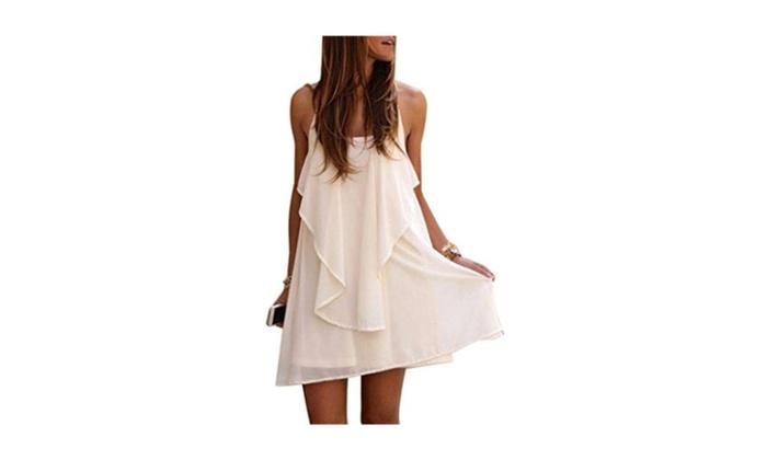 Women White Backless Loose Spaghetti Strap Ruffle Chiffon Mini Dress