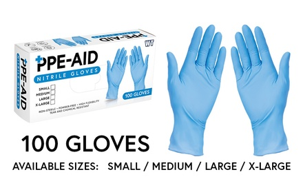 100 PPE Aid Powder Free Nitrile Gloves - Available in S, M, L and XL