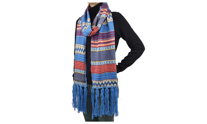 90 Bohemian Style Blue Long Woven Scarf