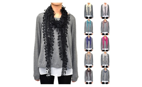 Lace Scarf with Polka Dot Print & Fishnet Fringe 7e929a03-a567-479d-849f-bc03d952118f