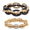 Crystal Gold Tone and Black Ion-Plated 2-Piece Stretch Bracelet Set 8""