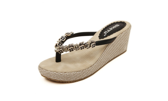 Women's Metal Beaded Wedge Flip Flop Sandal