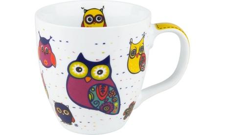 Set of 4 Mugs Owls on White 179ebb6d-bd5f-4094-9690-8ddd7a6dbc6e